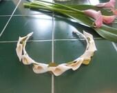 calla lily crown headband bun wrap for flower girl first communion ballet costume quinceanera bridal headpiece