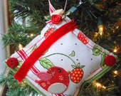 Red Bird and Strawberries Red White and Green Handmade Fabric Christmas Tree Holiday Ornament