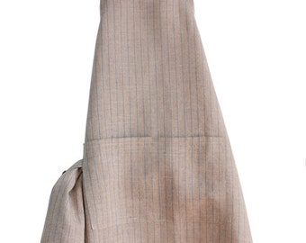 FREE SHIPPING Linen Kitchen APRON with Dish Cloth. Natural color with  stripes. Stripped apron. Linen Pinafore. Apron with pockets.