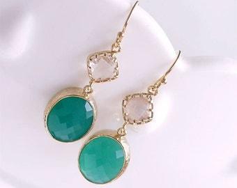 Kelly Green and Gold Dangle Earrings - Green Drop Earrings on Gold Filled Earwire - Oval Stone Earrings