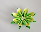 Origami paper flower. Easter gift, green, lemon yellow