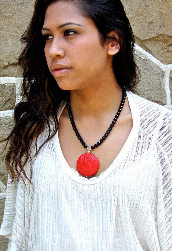 Cinnabar and onyx beaded necklace and earring set - red and black beaded jewelry by Sparkle City Jewelry