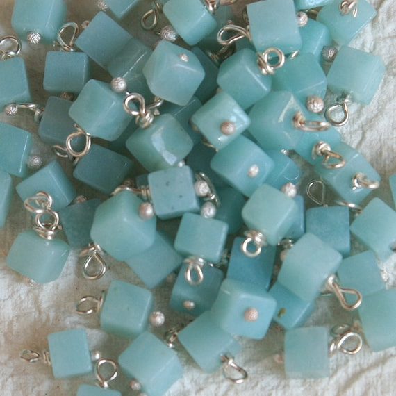 Wire Wrapped Beads 4mm Amazonite Cubes (10 beads) on Solid Sterling Matte Ball Headpin