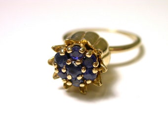 14k Yellow Gold Blue Sapphire Multi Stone Thistle Flower Ring - Cluster Ring - Size 7 1/2 - Weight 6 Grams # 284