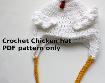 Instant download Crochet Chicken Hat PDF PATTERN ONLY