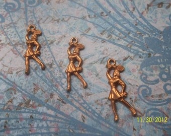 3 Vintage Red Brass Tennis Player Stamping