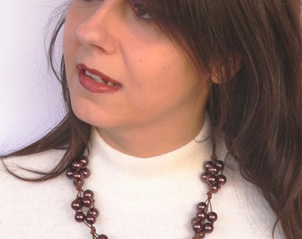 Statement brown necklace handmade with brown glass beads and metal beads. ooak made in Italy.