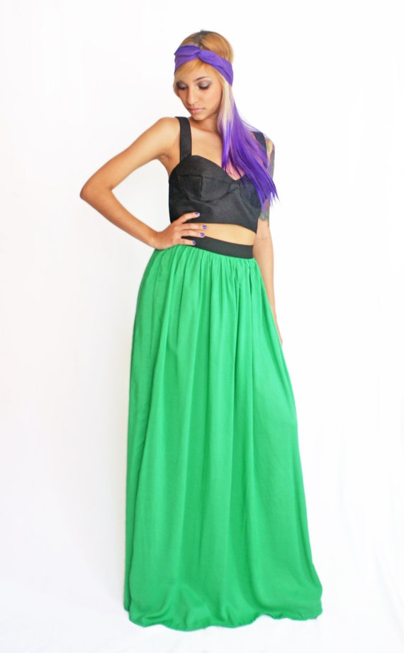 Maxi Skirt in Irish Green Cotton PRE ORDER