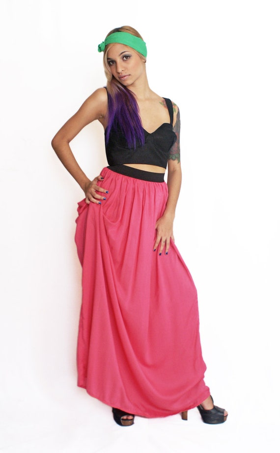 Maxi Skirt in Rose Pink Cotton - Reserved for Holly-