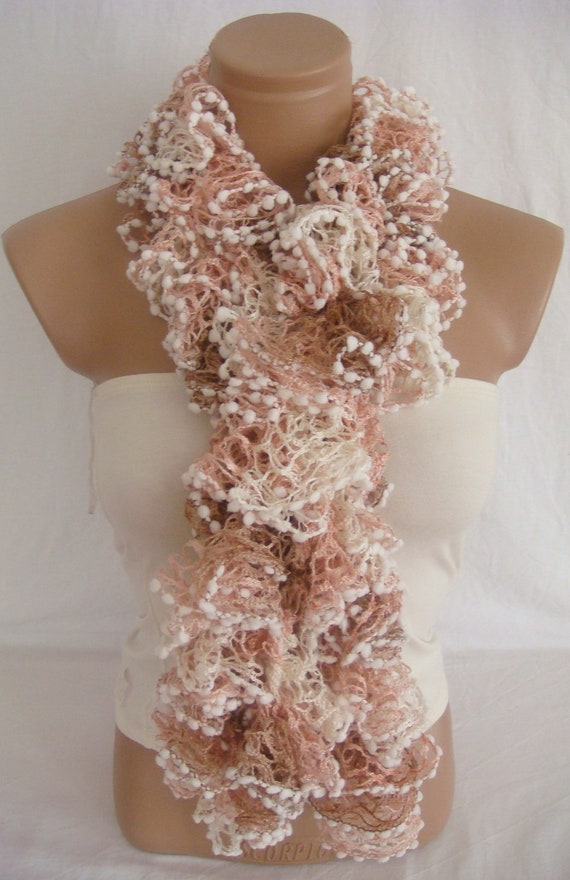 Hand knitted Camel,Pink,White ruffled scarf
