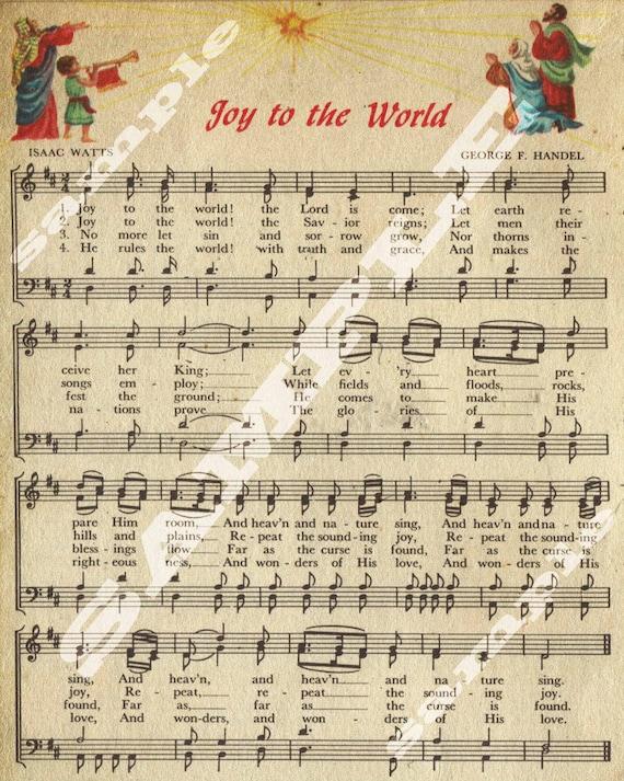 Items similar to Joy To The World Christmas Holiday Art Religious Vintage Sheet Music Printable ...