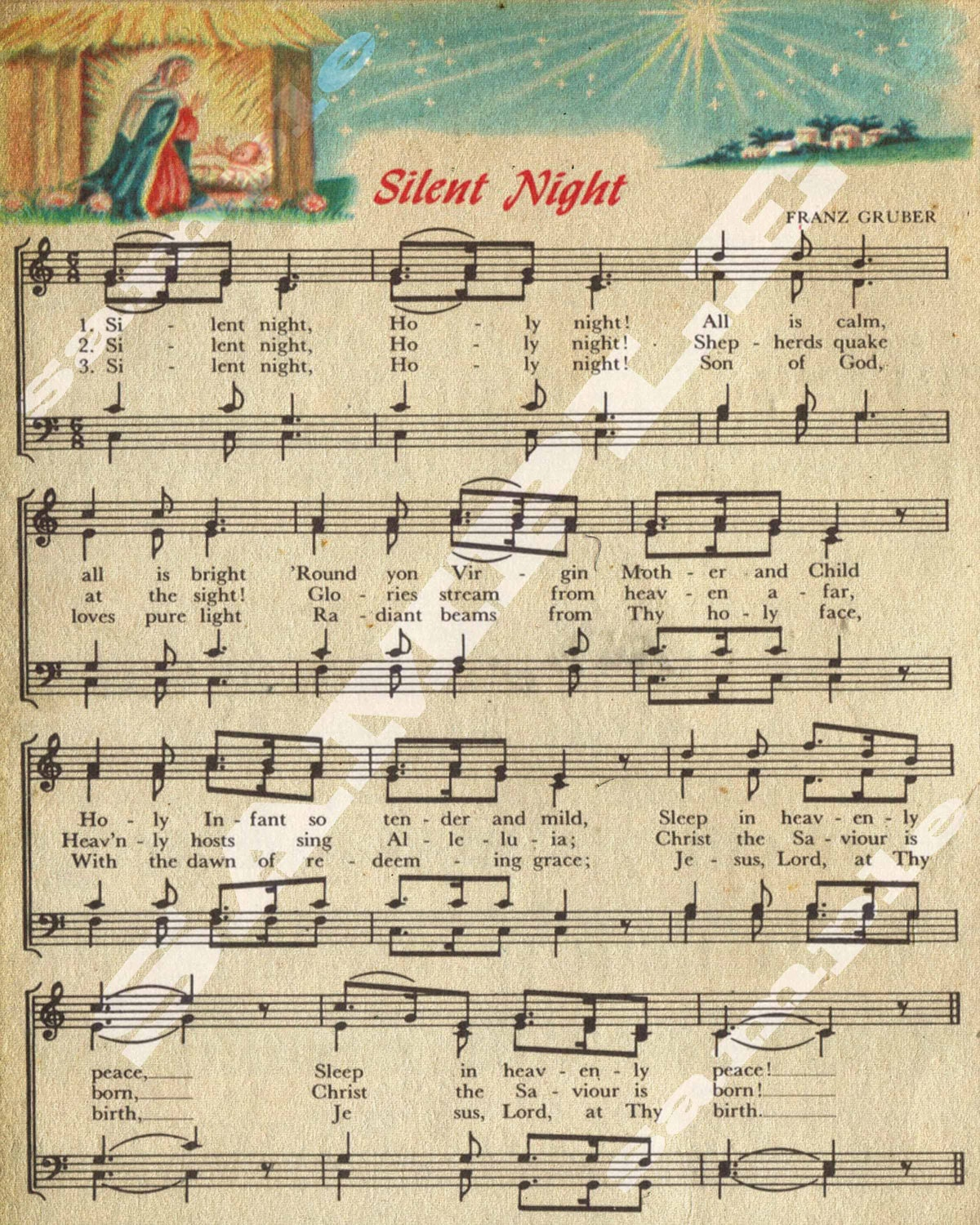 Vintage Silent Night Sheet Music Vintage Christmas Sheet Music