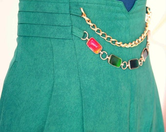 60's MOD Green High Waist Trouser with Resin Metal Buckle Decoration Chain // Size L