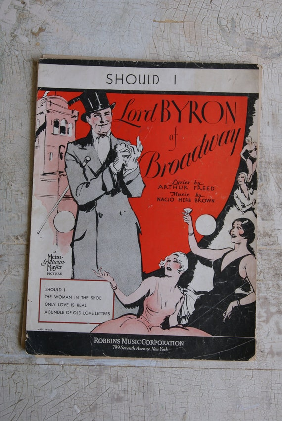 SHOULD I Sheet Music from Movie Titled Lord Byron Of Broadway 1929 Roaring Twenties Flapper Girls