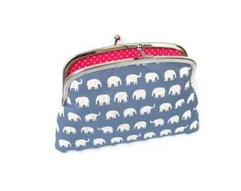 Blue kiss lock coin purse with cute white kawaii elephants - two section or compartments in bright pink