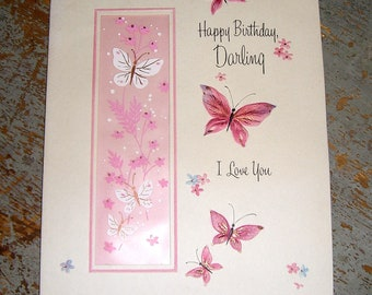 Vintage Cards, Birthday, Pink, Butterflies, Hallmark, Unused