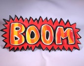 BOOM Pop Art Badge, Brooch, Fimo, Polymer Clay