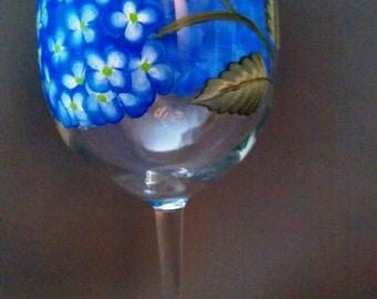 Blue Hydrangea Wine Glass