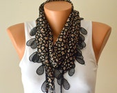 Cheetah print cotton scarf headband necklace cowl with lace edge women's fashion animal print scarf mother's day gift