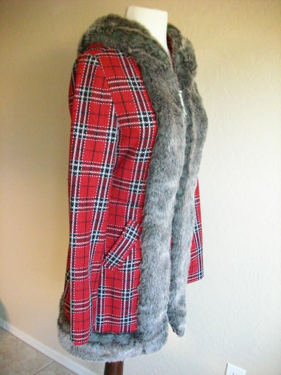 Red Tartan Plaid Coat with Faux Fur Trim