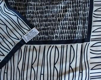 vintage BILL BLASS silk scarf / navy & white / neck scarf / logo / preppy