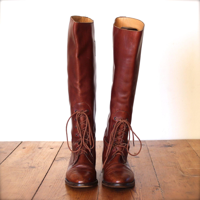 vintage RALPH LAUREN English riding field boots / brown /