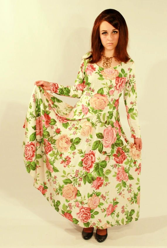 RESERVED FOR KF Floral Grunge Maxi Dress w/ Circle Skirt and Criss-Cross Back