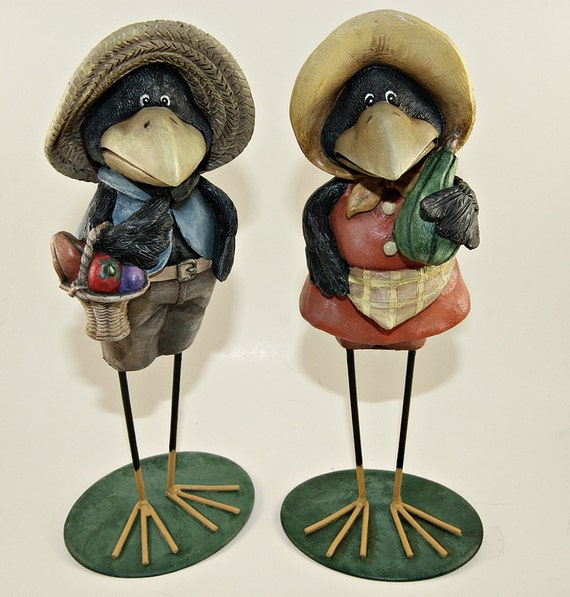 Two Hand Painted Resin Crow Figurines, Home Decor, Part of Sales Proceeds Supports Animal Rescue Charity