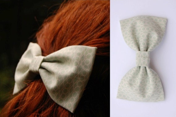 Soft Mint Bow Tie Hair Clip - Summer 2012 Collection - Light Green Geometic Pattern Cotton Large Fabric Bow