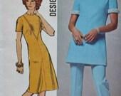 SALE 1970s Misses Mod Dress or Front Seam Interest Tunic Pantsuit Designer Fashion Bust 40 Simplicity 9710 Vintage Sewing Pattern