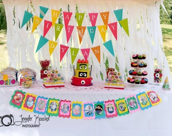 Happy Birthday Banner Custom (Bunting, Sign, Flags, Pennants, Garland) Name Added - Party Decoration