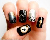 Steampunk Nails, Fake Nails, Industrial, Press on Nails, 3D Nails, Acrylic Nails, Steampunk, False Nails, Short Nails, Artificial Nails
