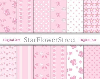 Pink Butterfly Digital Paper Patterns - soft baby pink white polka dot stripe daisy flower papers girls scrapbook instant download
