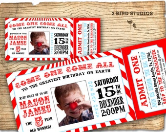 Circus invitation - Vintage circus Birthday invite -  Carnival/Circus Ticket Birthday Party Invitation-  DIY printable