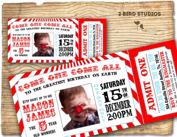 Circus invitation - Vintage circus Birthday invite -  Carnival/Circus Ticket Birthday Party Invitation-  DIY printable