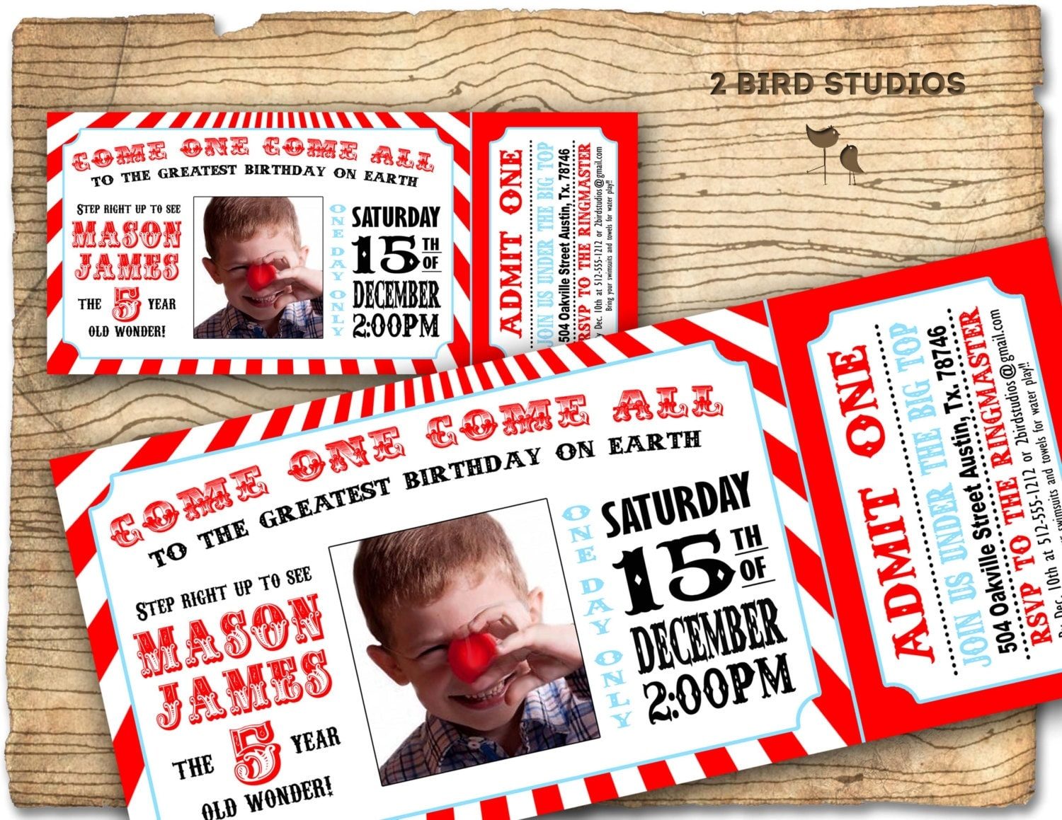 Circus invitation Vintage circus Birthday invite – Party Ticket Invitations
