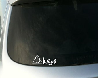 """Harry Potter inspired Deathly Hallows / """"Always"""" mashup vinyl decal - Car decal - Macbook decal - Harry Potter decal - Deathly Hallows decal"""