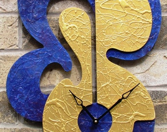 Wall Clock Ultramarine Violet High Sheen Gold Metallic 4 metal hangers