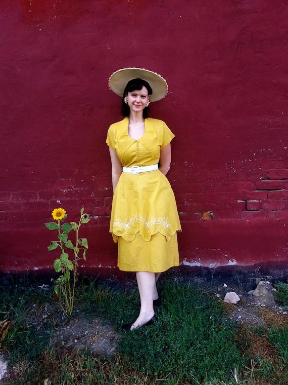 RARE 1950s Saffron Sunflower Yellow Dress Margo Walters Sz. 14