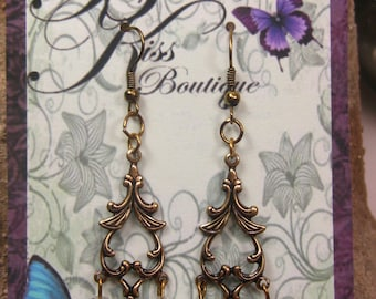 Timeless Elegance Crystal Antique Brass Wire Earrings with Pink, Purple, Green and Blue Hues Shabby Chic