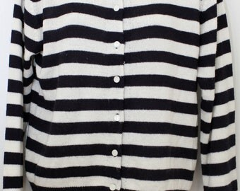 90s Vintage SIGRID OLSEN Pinstripe Sweater Sz: Medium