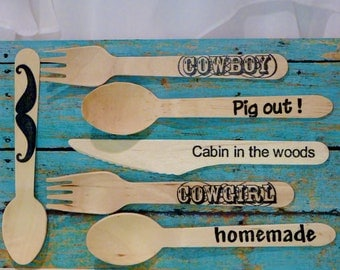 Hand Stamped  WOOD Spoons , have a  Cowboy Boot Kickin' Party  -  setting for 12 WITH 12 Icecream , Dessert Spoons