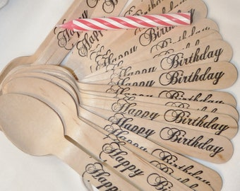 20 WOODen HaPPy BiRtHdAy SpooNs - 20 total pieces  Hand Stamped  Wooden Spoons BirthDAY PaRtY PerFeCt ,Ice Cream