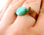 CLEARANCE SALE - Copper and Turquoise Ring - Hammered Copper Ring - Size 7 Ring - BOHEME Collection
