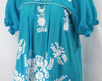 "Mexican Peasant Blouse Top Hand Embroidered: ""La Mariposa"" Turquoise"