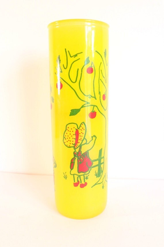 Vintage glass candle holder - yellow and red with apple-picking scene