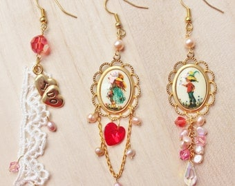 My Valentine Trio Earrings - romantic and whimsical jewelry - vintage Holly Hobbie cabochons, lace, freshwater pearls, swarovski crystals