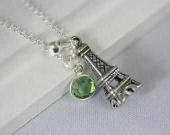 3D Eiffel tower -  sterling silver Eiffel tower - custom bitrthstone - sterling silver chain -