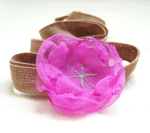 Fuschia Hot Pink Organza Flower Accesssory Wrist Corsage / Headband  for Little Girls by Fairytale Flower