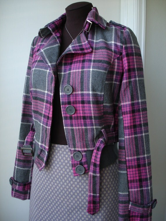 70's Mod Squad Style Beverly Hills Polo Club Wool Plaid Bomber Jacket
